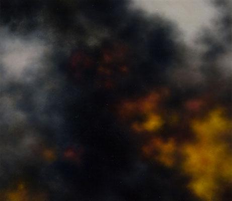 Andreas Leißner: *Rauchwolke II*, 2014, Öl/Hartfaserplatte, 30 x 34 cm