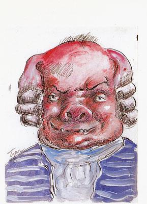 Roland Topor: *Pigonou* (Figur aus dem Film Marquis), 1988, Farbige Zeichnung/Papier, 31,7 x 24 cm