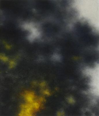 Andreas Leißner: *Rauchwolke III*, 2014, Öl/Hartfaserplatte, 30 x 26 cm