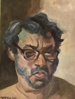 Pavel Feinstein: *N 1888* (Selbst), 2014, Öl/Leinwand, 40 x 30 cm