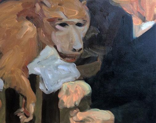 Johannes Grützke: *Gegenüber dem Pavian*, 29.1.2016, Öl/Leinwand, 40 x 50 cm