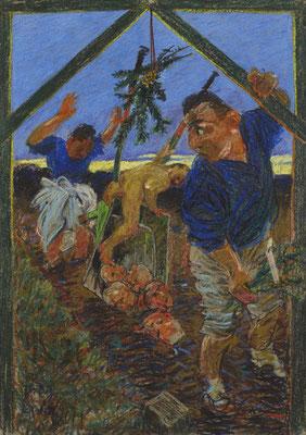 Johannes Grützke: *Die Karre im Dreck II*, 2002, Pastell/Papier, 100 x 70 cm