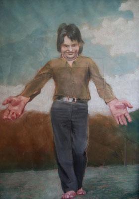 Johannes Grützke: *Das bin ich!*, 13.11.1970, Pastell/Papier (hinter Glas), 98 x 70,5 cm
