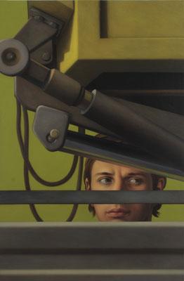 Andreas Leißner: *Spion II*, 2009, Öl/Hartfaserplatte, 73 x 48 cm