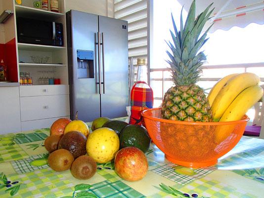 Les fruits du petit déjeuner ; au fond le réfrigérateur américain.