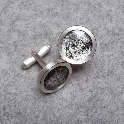 Silber Manschettenknöpfe mit Turmalinquarz