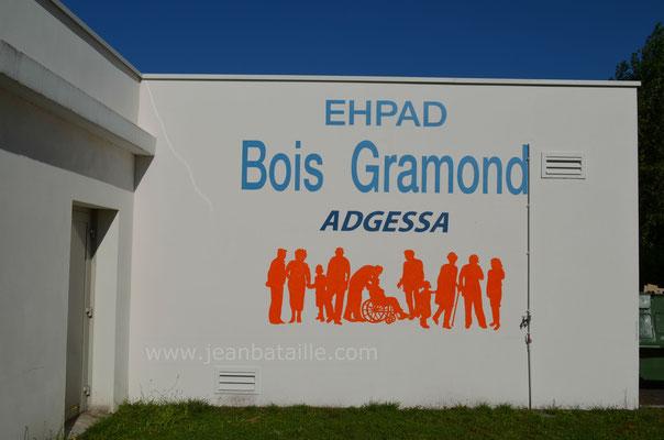 Reproduction du sigle  de l'EHPAD sur mur  en ciment de 20m2