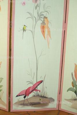 Paravent 4 panneaux : détail du  flamand rose