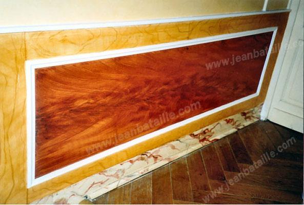 sous-bassement en faux bois imitation acajou gerbé et érable et en faux marbre fantaisie