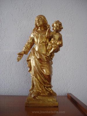 Statue de la Vierge en bois, imitation or