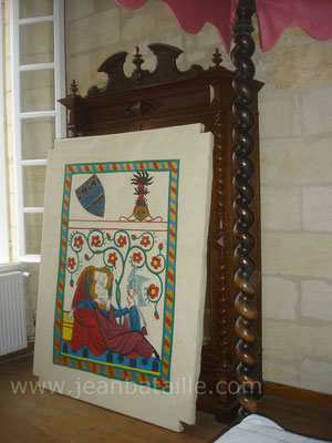 Reproduction d'une enluminure du XIIIe sur toile de lin pour ciel de lit