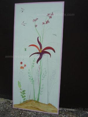 Détail décoration en acrylique sur un médium (bois compressé)