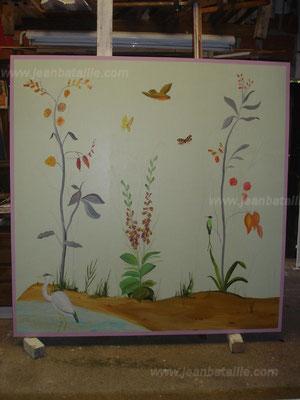 Décoration en acrylique sur un médium (bois compressé)