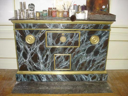 Cheminée chauffe-plats en tôle en faux-marbre Vert de Mer