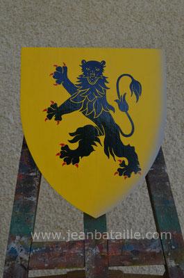 Blason du XIIIe siècle or,  Léopard de cendre rampant