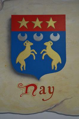 Blason de la ville de Nay (64) sur imitation parchemin
