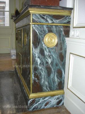 Profil cheminée chauffe plats en tôle en faux-marbre Vert de Mer