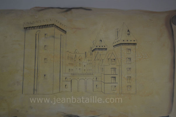 Reproduction d'un parchemin, détail du château imitation crayon, fait en peinture acrylique