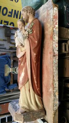 AVANT rénovation St Joseph et l'enfant Jésus 1,10m de hauteur
