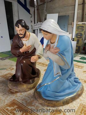 Restauration Ste Vierge et Joseph pour crêche
