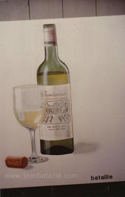 Reproduction d'une bouteille  de vin et d'un verre en peinture laque
