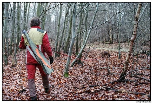 Es geht quer durch den Wald, durch dornige Büsche und schlammige Wiesen.