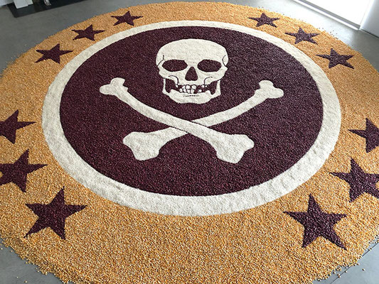 Jolly Roger, 2018. Corn, beans and rice. 3m diameter
