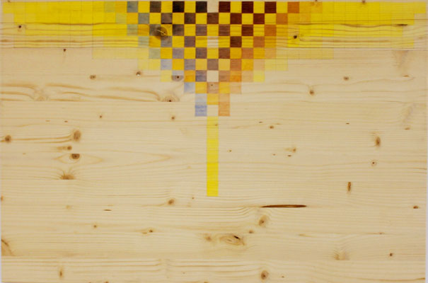 Growth 2 -yellow, 2014. Acrylic on wood. 75x 50cm