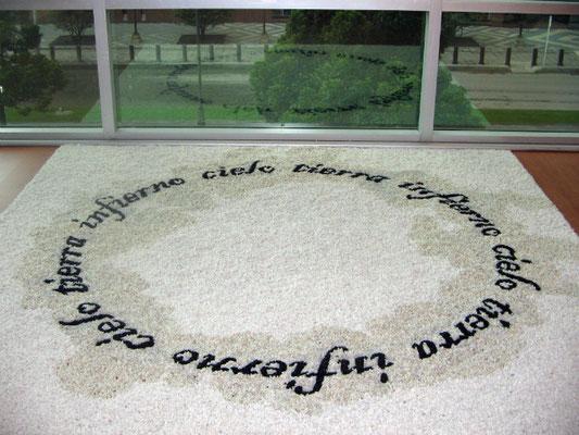 Here, 2008. Beans and stones. 3m diameter