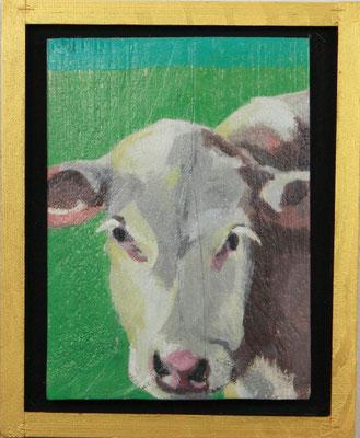 Sabine Gabor: Kuh I, Acryl auf Holz, 24 x 39 cm, 195,- € mit Rahmen