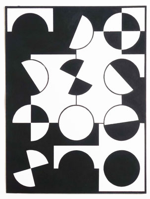 Ellen Roß: Bianco/Nero n°1, 2016, Vinyl auf Bütten, 31 x 41 cm