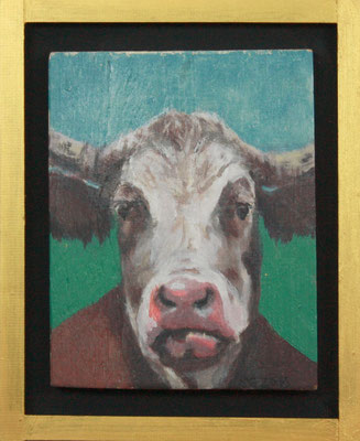 Sabine GAbor, Kuh III, 2016, Acryl auf Holz, 24 x 29 x 4cm, 195,- € mit Rahmen