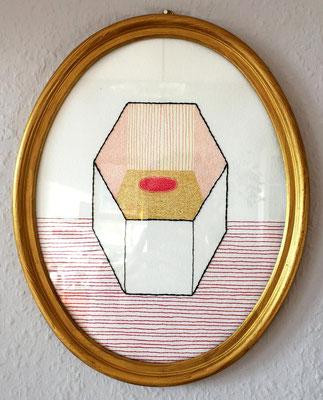 Nina Midi, Ohne Titel, 2020, Stickerei und Zeichnung auf Papier, 30 x 24 cm, 120,- € mit Rahmen