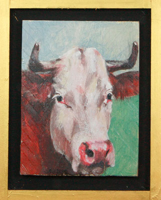 Sabine Gabor, Kuh II, 2016, 24 x 30 x 4 cm, Acryl auf Holz, 195,- €