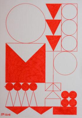 Ellen Roß: o.T., 2016, Filzstift auf Papier, 30 x 40 cm