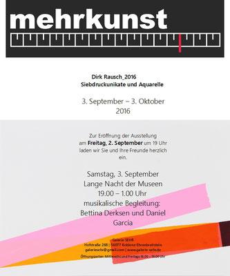 Dirk Rausch_2016, ein Projekt der Galerie SEHR  Koblenz