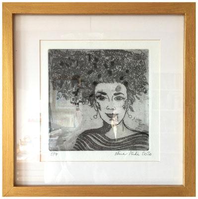 Nina Midi: Martina, Radierung, 2020, 20 x 20 cm, 140,- € (mit Rahmen)