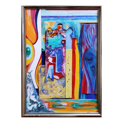 Steph Hardy: Ohne Titel, Collaeg, Acryl, Holz, MDF, 40 x 50 cm, 390,- €