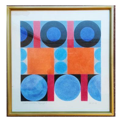 Ellen Roß: squares + circles (Papagei I), 2019, Buntstift auf Hahnenmühle Nostalgie Papier, 30 x 30 cm, 300,-€ mit Rahmen