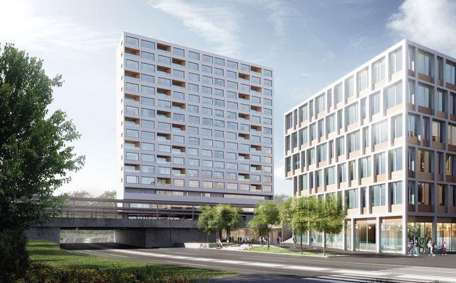 Visualisierung, Metrohaus (M1) und Gebäude (O1)
