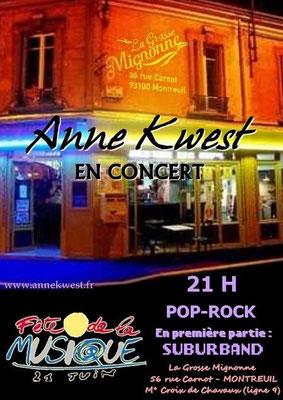 Vendredi 21 juin 2013 - Fête de la musique à Montreuil -21h Première partie: Suburband à La Grosse Mignonne