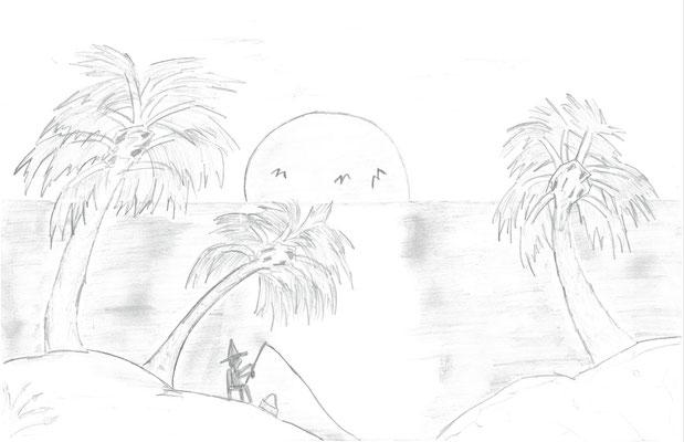 """Arnel V., """"Fishing at Sunset"""""""