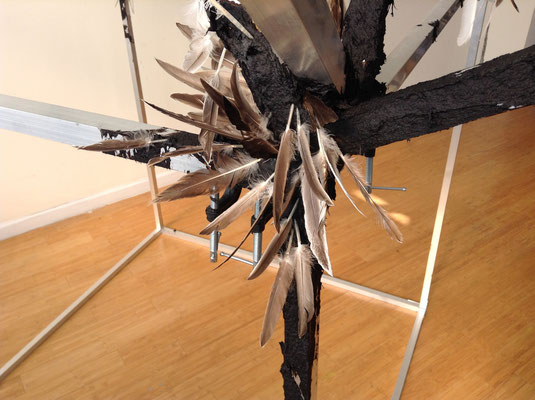 Euclid (detail view), Aluminum, Metal Clamps, Tar & Feathers, 12' x 12' x 10'