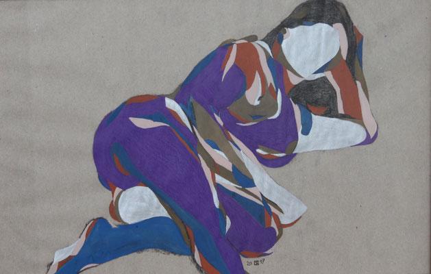 Mädchen liegend, Aquarell und Buntstift auf Papier, 2017, 29 cm x 42 cm
