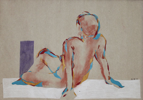 Vor der lila Säule, Aquarell und Buntstift auf Papier, 2017, 42 cm x 59 cm