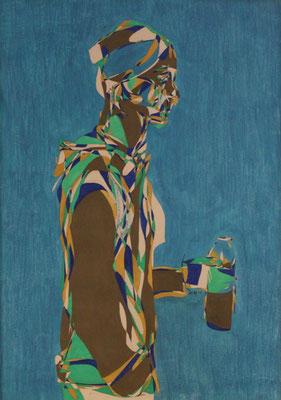 Der Kunstlehrer, Aquarell und Buntstift auf Papier, 2017, 59 cm x 42 cm