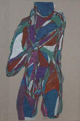 Torso, Aquarell und Buntstift auf Papier, 2017, 42 cm x 29 cm