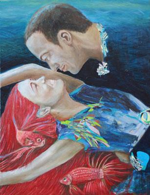 Portrait Zweier Tanzender, Öl und Collage auf Leinwand, 58 cm x 75 cm, 2014, Privatsammlung