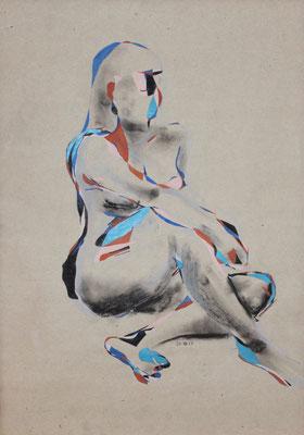 Mädchen sitzend blau, Aquarell und Buntstift auf Papier, 2017, 59 cm x 42 cm