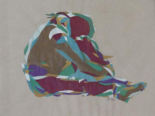 Ausharren, Aquarell und Buntstift auf Papier, 2017, 29 cm x 42 cm